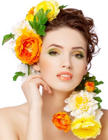 Beautiful woman with yellow flowers.3
